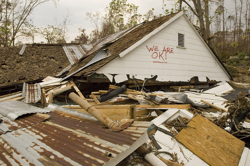 Coverage of disaster aftermath. Houses destroyed by 29 foot high storm surge along coastline of Waveland, Mississippi.